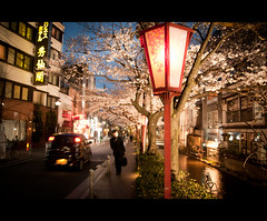 Goodbye, Kyoto (kaoni701) Tags: street travel people urban festival japan night landscape nikon kyoto cityscape dusk 京都 1750 handheld cherryblossom 日本 sakura gion bluehour lantern tamron vc hanami さくら お花見 gp1 d300s