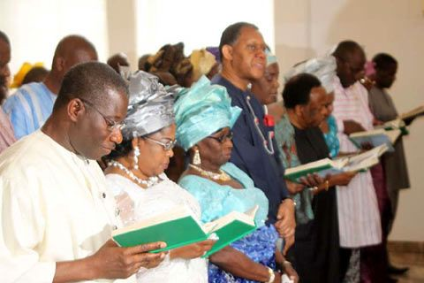 From left: President Goodluck Jonathan; his wife, Dame Patience Jonathan; mother of the President, Mama Jonathan; Minister-designate, Mr. Odein Ajumogobia; his wife, Mrs. Ajumogobia, Special Adviser on Petroleum to the President, and others. by Pan-African News Wire File Photos