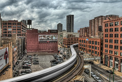 "Turning day into night - The ""L"" train ""S"" curve - Chicago (Mister Joe) Tags: chicago streets train movement nikon downtown loop parking tracks fast wells s joe nd l ltrain elevated curve hdr hubbard scurve"
