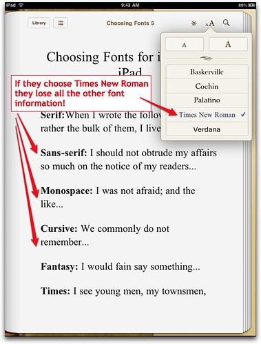 Times New Roman chosen in iBooks on iPad