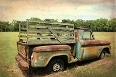 Retired, Not Looking for Work (Brian Brown Photography/Vanishing Media) Tags: pictures usa chevrolet abandoned truck work photo rust 10 rusty pickup 1966 66 faded chevy americana stepside vanishingsouthgeorgia copyrightbrianbrown holmestheusroad hucklebeefarm