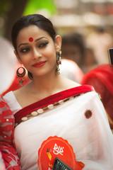 Tropical Exotica (Iftekhar_Himel) Tags: red portrait woman girl beautiful beauty festival lady pretty dof celebration exotic lovely trina saree bangladesh splendid bengali elegence bangladeshi pohelaboishakh 1417 boishakhi boishakh charukola
