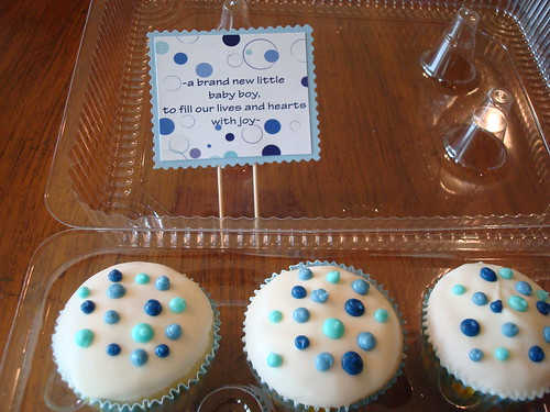 Polka Dot Baby Shower Cupcakes