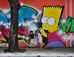 Graffiti - Bart Simpson (Claudia Oseki) Tags: street brazil wall brasil kids children graffiti kid child sidewalk collors grafite collor