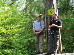 Paul with an instructor from Go Ape! (ec1jack) Tags: uk england forest outdoors spring woods britain outdoor buckinghamshire 21st may adventure buldge wendover activities bulge goape 2011 wendoverwoods chilternforest astonclinton kierankelly canoneos600d ecijack trouserbuldge