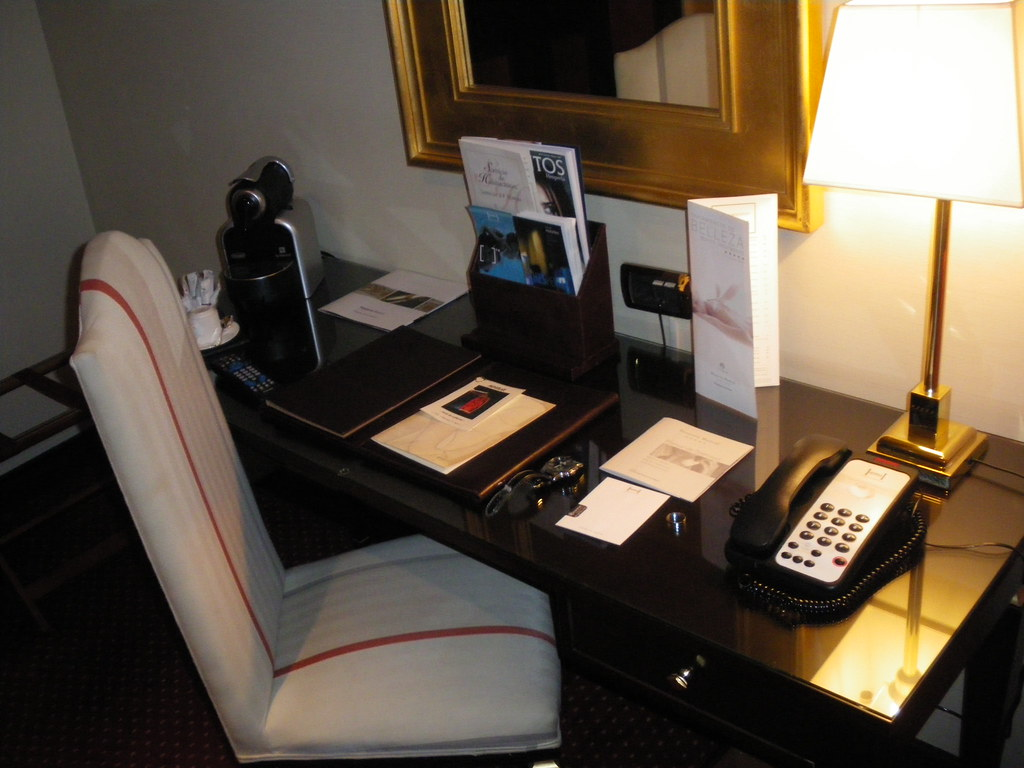 The Hesperia Madrid Hotel - one of the Leading Hotels in the World! Here view into our Business suite! Writing-desk! ( Summer 2009 in Madrid ).