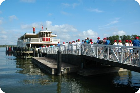 Boarding the ferry to the Magic Kingdom