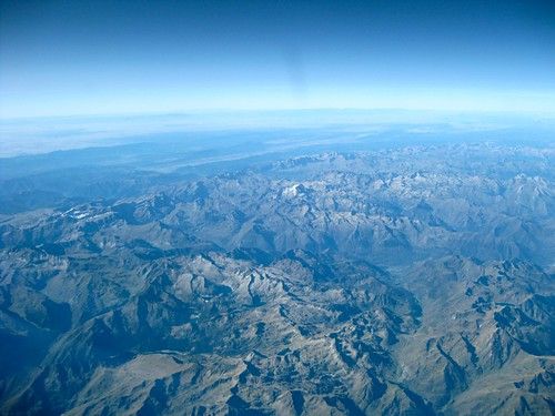 Flying over the Pyrenees.