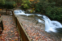 (JoeyBowman) Tags: park county autumn mountain mountains fall water leaves season photography waterfall leaf nc high state time hiking joey south north parks trails falls rapids trail waterfalls cascades carolina mtn states wilderness cascade rapid burke bowman counties shoal caldwell shoals catawba
