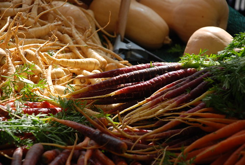 carrots and parsnips at the Santa Monica Farmers' Market