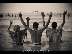 Beach of the Devotees (Shabbir Ferdous) Tags: light people blackandwhite bw beach monochrome sepia landscape photographer shot capture devotee tone bangladesh bangladeshi sundarban ef70200mmf28lisusm rashmela canoneos5dmarkii shabbirferdous dublarchor rashpurnima wwwshabbirferdouscom shabbirferdouscom