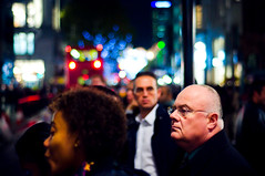 Just another face in the crowd (Neal Bingham) Tags: street colour night 50mm nikon bokeh streetphotography vacant commuter f18 oxfordstreet neal oxfordcircus autopilot bingham londonist d90 thelightsareonbutnoonesathome nealbingham nealbinghamcom