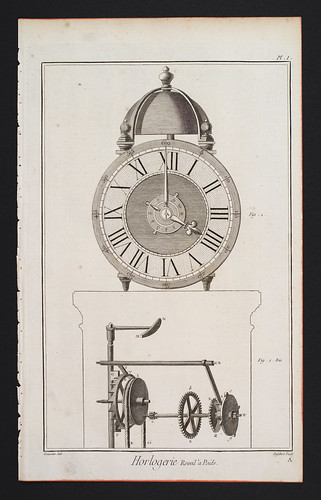 //Horlogerie//, Plate 1. Encyclopédie, ou Dictionnaire Raisonné des Sciences, des Arts et des Métiers. Edited by Denis Diderot and Jean le Rond d'Alembert, Paris 1768. Photograph by D Dunlop.