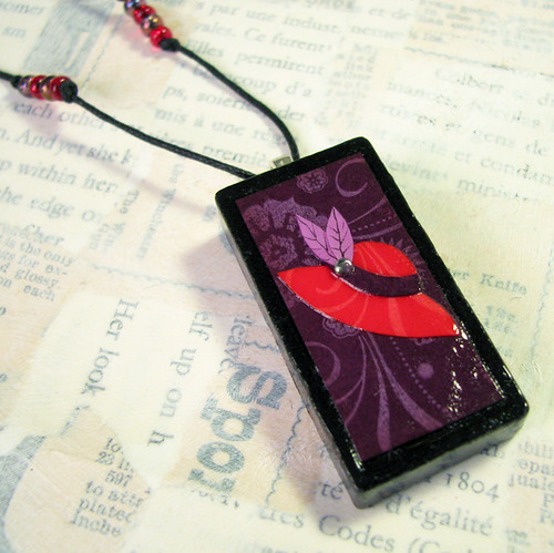 Red Hat Society Domino Pendant