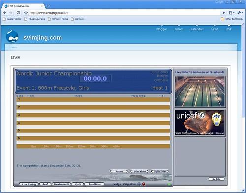 Svimjing.com/live klár til NJM 2009