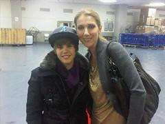 Justin Bieber meeting Celine Dion (: (Taylorrrr ( :) Tags: blue justin broken girl hat one kiss kissing atl leg drew jacket lonely less dion celine bieber