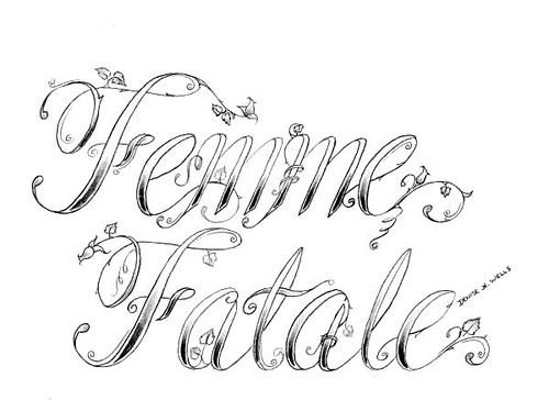 """Femme Fatale"" Tattoo Design by Denise A. Wells. ""Femme Fatale"""