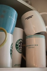 Collection (Ana Luísa Pinto [Luminous Photography]) Tags: blue white black green kitchen coffee tea cabinet drink collection starbucks mug