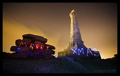 Merry Xmas (Light Painted Cornwall) Tags: light lightpainting monument pool tristan night clouds painting graffiti star long exposure paint cornwall cross wand painted trails led sword granite brea redruth barratt lightpaint camborne carn lightpainted