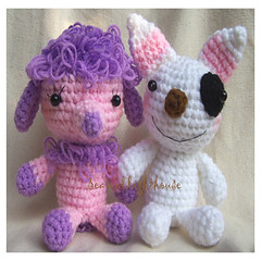 Two (seaandlighthouse I) Tags: pink dog pet brown white black beagle doll pattern handmade crochet plush poodle kawaii etsy lovely amigurumi bullterrier pupies purpur seaandlighthouse