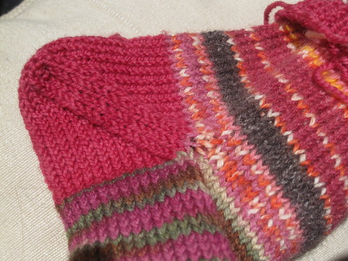 Double knit socks - afterthough heel