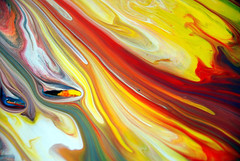 Colourful Abstract Painting Fluid Rivers Of Paint (markchadwickart) Tags: red white black color colour green art wet water yellow river painting movement colorful paint artist mark vivid move fluid colourful chadwick