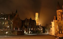 Medieval Bruges with unusual Frozen Rozenhoedkaai (Sir Fran