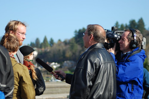 Speaking to Reporters at the November 2007 Olympia Port Protests