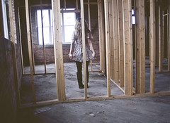 dontmakeasound (yyellowbird) Tags: selfportrait abandoned girl wooden frames construction rooms factory cari