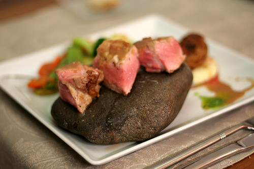 dinner, served on a rock
