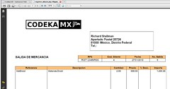 Codeka MX Salida de mercancía