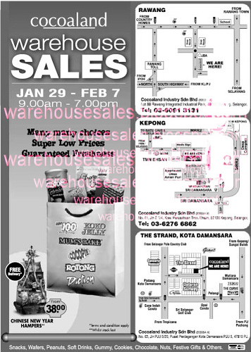 29 Jan - 7 Feb: Cocoaland Warehouse Sale