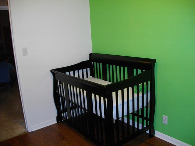 black nursery crib