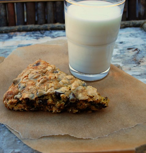 Oatmeal Choc Chip Pizza Cookie with milk