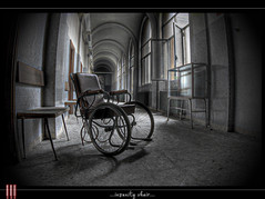 Insanity chair (il COE) Tags: photoshop canon lights shadows decay ombre creepy fisheye spooky abandon luci 16mm asylum abandonment hdr coe decayed decadence manicomio madhouse abbandono decadenza photomatix