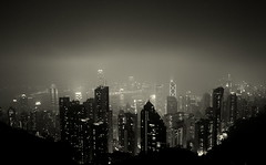 Misty Hong Kong - Gotham City II (... Arjun) Tags: china city light urban bw 15fav panorama hk mist storm rain misty fog sepia clouds 1025fav 510fav hongkong iso3200 lights town lomo lomography haze asia cityscape nightscape cloudy capital foggy monotone 100v10f panoramic 2550fav 50100fav batman metropolis thepeak hazy gotham  toned f8 murky steamy darkknight victoriapeak 2010 conurbation municipality gothamcity monchrome metropolitian hongkongsar 26mm canonef1740mmf4l bluelist canoneos5dmarkii canon5dmarkii mistyhongkong gettyvacation2010