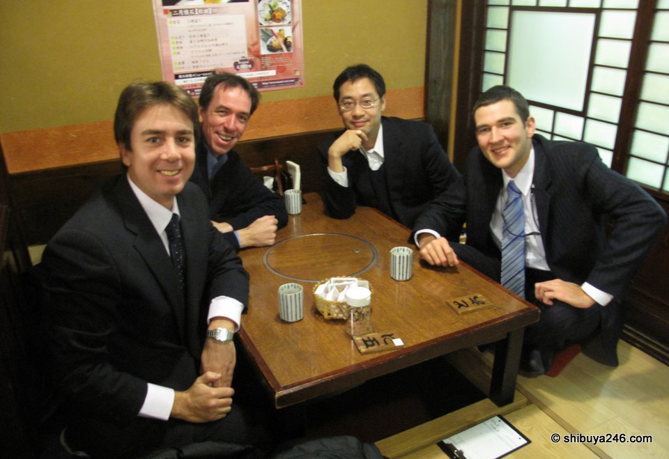 We had lunch in a basement restaurant of the Yurakucho Denki Bldg. Good food, fine company. Just another great day in Japan.