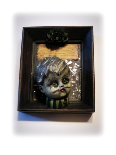 """Nod"" head spun right Mixed Media Assemblage painting"