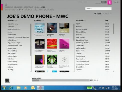 Windows Phone Zune software