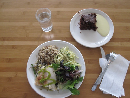 fish, wild rice with sesame seeds, remoulade, salade, veggies, chocolate cake - $6