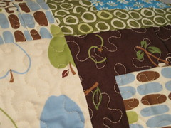 close up of machine quilting on larger quilt