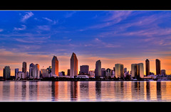 Golden Sunrise (sumit-roy) Tags: sky reflection skyline sunrise heart sandiego coronado sandiegoskyline flickraward flickrheartaward sunriseskyline 100commentgroup