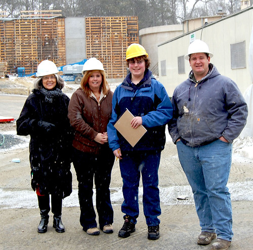 Touring the Berlin, MD Wastewater Treatment Plant construction site are (l-r) Dr. Merle Marsh, Director of Special Projects, Worcester Preparatory School; Jane Kreiter, Director of Wastewater; student reporter Jamie Welch, Worcester Preparatory School; and James C. Latchum, Superintendent of Wastewater, Berlin, MD.
