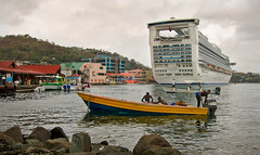 Big Boat Little Boat (aaross) Tags: boat fishing locals cruiseship stlucia castries