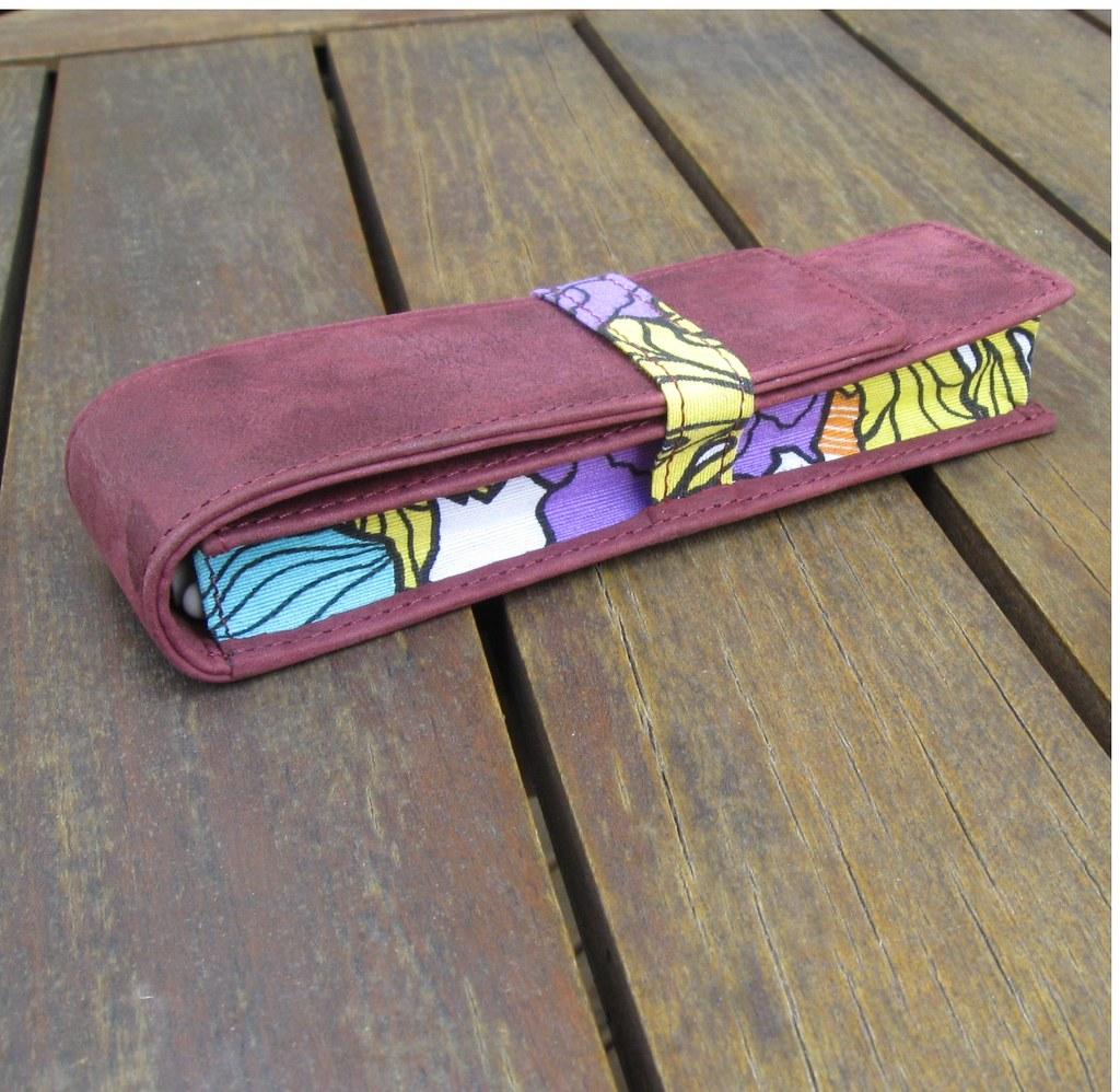 The Laetitia leather & floral canvas pencil case