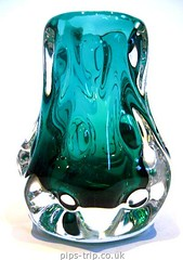 1970s Liskeard Glass Turquoise & Clear Knobbly Vase by Jim Dyer (Pips-Trip) Tags: glass vintage cornwall jim dyer liskeard jimdyer