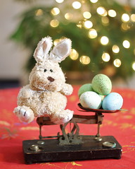 Balance, Bunnies, and Bokeh - 093/365 (JMaz Photo) Tags: bunny scale easter lights bokeh eggs balance weights balancebeam speedlite project365