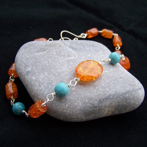 Amber, turquoise and silver plated necklace