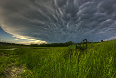 plow storm (davedehetre) Tags: sky cloud storm weather pond farm fisheye kansas thunderstorm plow 8mm cultivator johndeere joplin mammatus samyang