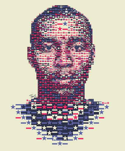 Eddie Pope: Stars and Stripes mosaic portrait / Charis Tsevis